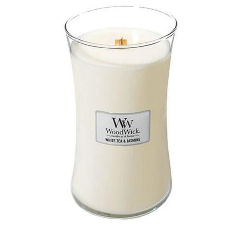 Woodwick oválna váza White Tea and Jasmine 609,5g, Vonná sviečka