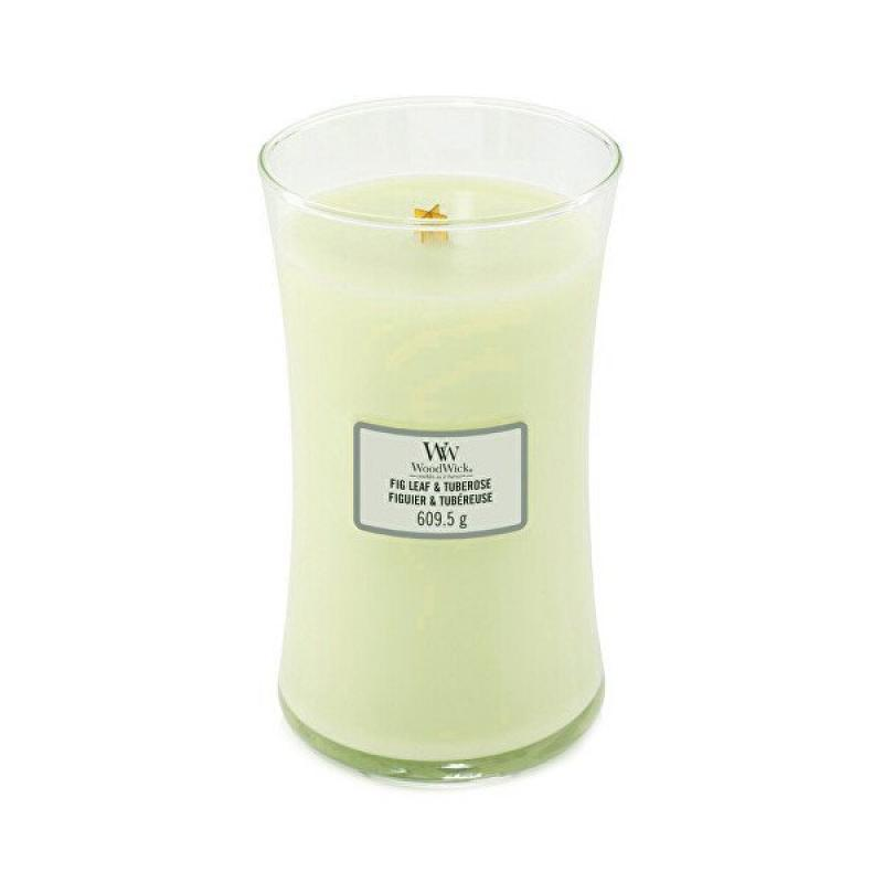 Woodwick oválna váza Fig Leaf and Tuberose 609.5g, Vonná sviečka