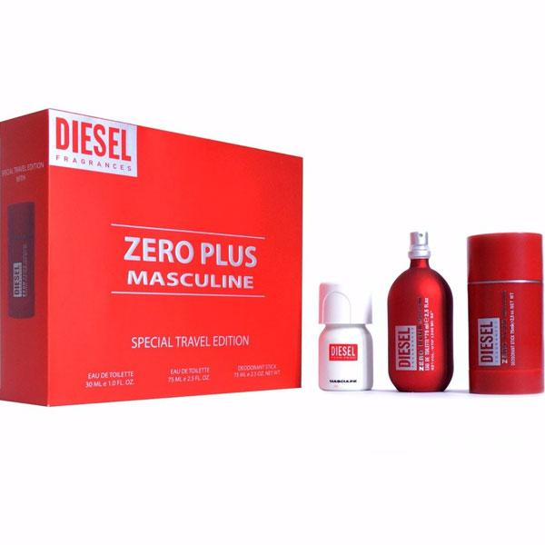 Diesel Zero Plus Masculine Edt 75ml + Plus plus Edt 30ml + deodorant 75ml (M)
